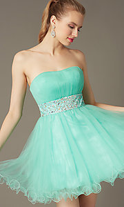 Image of strapless short babydoll party dress with corset. Style: FB-GS1053 Front Image