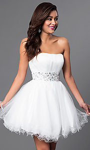 Image of strapless short babydoll party dress with corset. Style: FB-GS1053 Detail Image 1