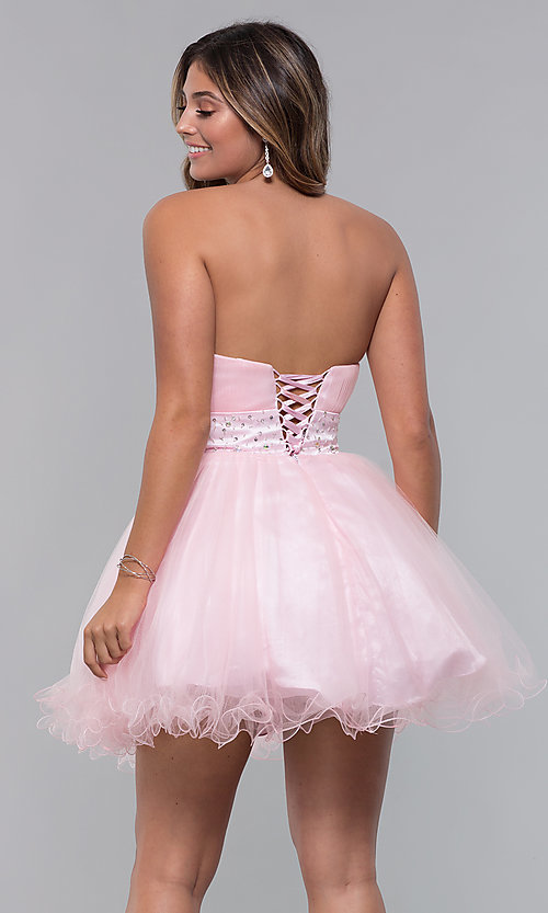 Image of strapless short babydoll party dress with corset. Style: FB-GS1053 Detail Image 6