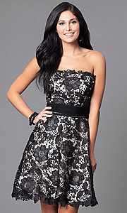 Image of strapless floral-lace ruched-waist short party dress. Style: FB-GS1450 Front Image