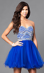 Image of beaded strapless sweetheart bandeau-back short dress. Style: FB-GS1458 Detail Image 2