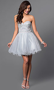 Image of beaded strapless sweetheart bandeau-back short dress. Style: FB-GS1458 Detail Image 1