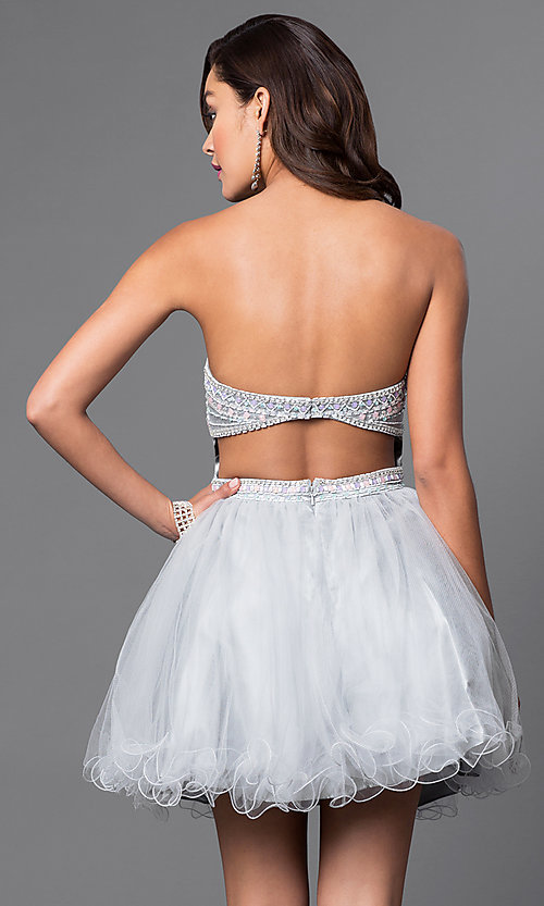 Image of beaded strapless sweetheart bandeau-back short dress. Style: FB-GS1458 Back Image