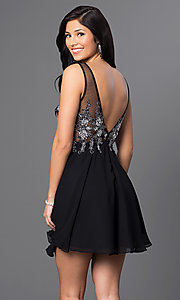 Image of short homecoming party dress with embellishments. Style: FB-GS1432 Back Image