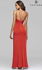 Image of long high-neck Faviana formal dress.  Style: FA-7904 Back Image