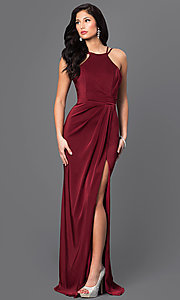 Long High-Neck Faviana Formal Dress