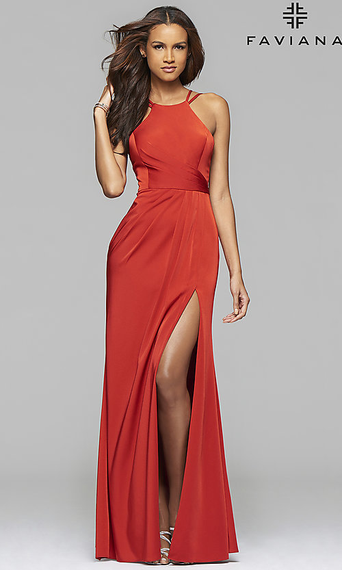 Image of long high-neck Faviana formal dress.  Style: FA-7904 Detail Image 1