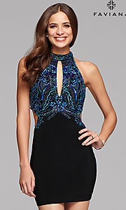 Black Faviana Short Open Back Homecoming Dress