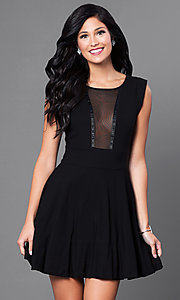 Image of black short sleeveless dress with sheer back. Style: CQ-1938 Front Image