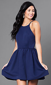 Image of open-back navy blue short dress. Style: CQ-3478DW Front Image