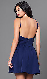 Image of open-back navy blue short dress. Style: CQ-3478DW Back Image