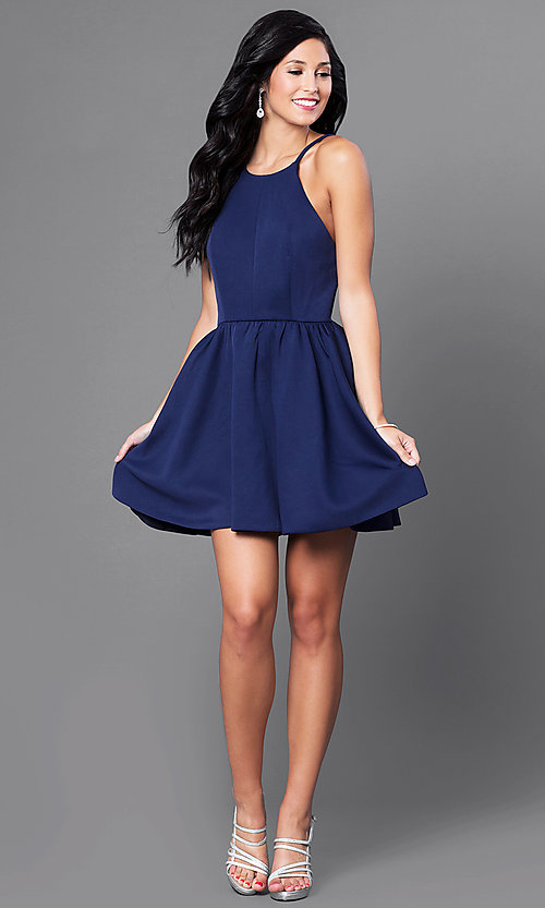 Image of open-back navy blue short dress. Style: CQ-3478DW Detail Image 1