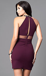 Image of plum purple short high-neck homecoming party dress. Style: MY-4136US1C Back Image