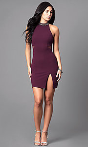 Image of plum purple short high-neck homecoming party dress. Style: MY-4136US1C Detail Image 2