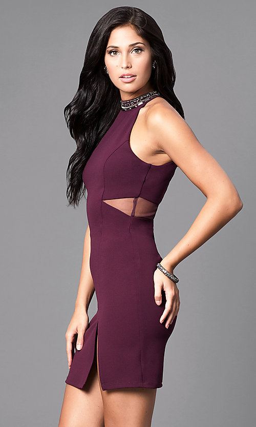 Image of plum purple short high-neck homecoming party dress. Style: MY-4136US1C Detail Image 1