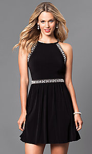Image of short sleeveless black homecoming party dress. Style: SS-x34141x03 Front Image
