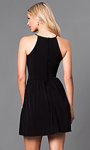 Image of short sleeveless black homecoming party dress. Style: SS-x34141x03 Back Image
