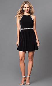 Image of short sleeveless black homecoming party dress. Style: SS-x34141x03 Detail Image 1