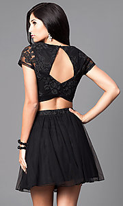 Image of two-piece glitter-print short black homecoming dress. Style: SS-x90024thy Back Image