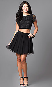 Image of two-piece glitter-print short black homecoming dress. Style: SS-x90024thy Detail Image 1