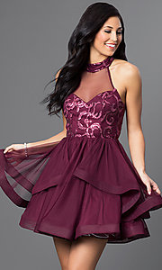 Image of illusion high-neck wine red short homecoming dress. Style: DMO-J314756 Front Image
