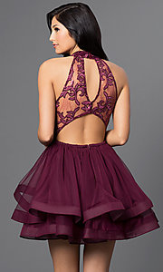 Image of illusion high-neck wine red short homecoming dress. Style: DMO-J314756 Back Image