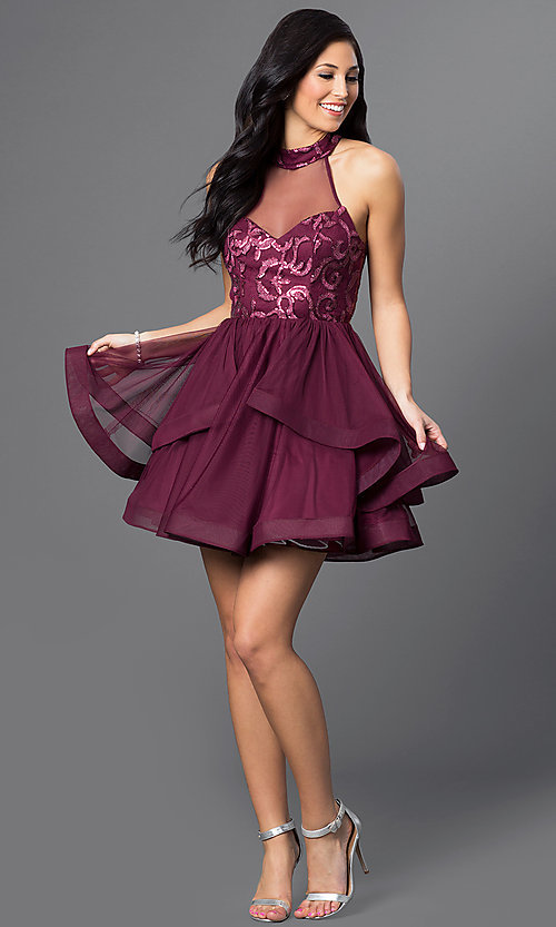 Image of illusion high-neck wine red short homecoming dress. Style: DMO-J314756 Detail Image 1