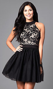 Image of short a-line homecoming dress in black and nude. Style: EM-EPY-1446-018 Front Image