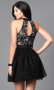 Image of short a-line homecoming dress in black and nude. Style: EM-EPY-1446-018 Back Image