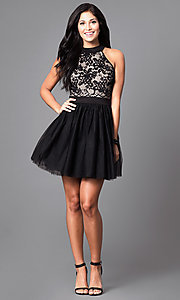 Image of short a-line homecoming dress in black and nude. Style: EM-EPY-1446-018 Detail Image 1
