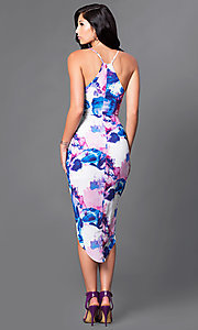 Image of high-low print party dress with mock-wrap skirt. Style: LT-LD9904N Back Image