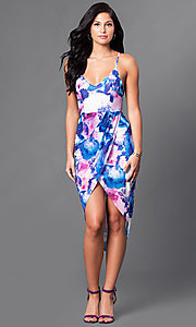 Image of high-low print party dress with mock-wrap skirt. Style: LT-LD9904N Front Image