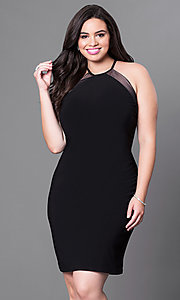 Plus Size High-Neck Knee-Length Homecoming Dress