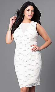 Knee Length Lace Plus-Size Homecoming Dress
