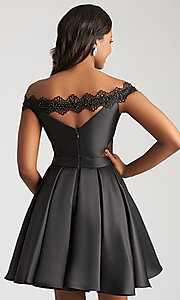 Image of off-the-shoulder homecoming dress with side cut outs. Style: NM-17-109 Back Image