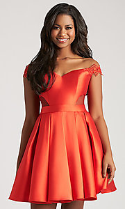 Image of off-the-shoulder homecoming dress with side cut outs. Style: NM-17-109 Detail Image 2