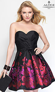 Image of strapless print babydoll designer homecoming dress. Style: AL-3693 Front Image