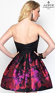 Image of strapless print babydoll designer homecoming dress. Style: AL-3693 Back Image