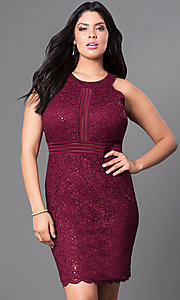 Scalloped Edge Lace Plus-Size Homecoming Dress