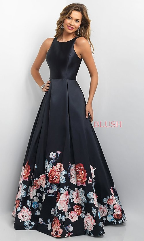 Image of floral-print long prom dress by Blush Style: BL-11136 Front Image