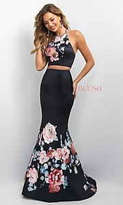 Image of two-piece floral-print long prom dress by Blush. Style: BL-11137 Front Image