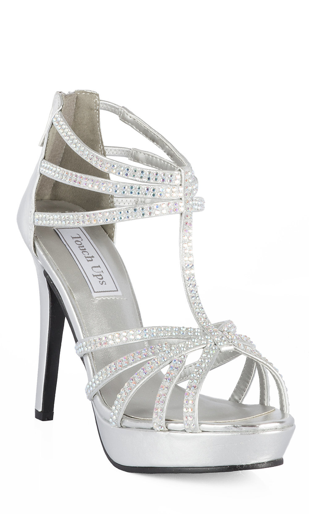"Silver Open Toe 4"" Prom Shoes"