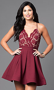 Image of short lace-bodice v-neck homecoming dress. Style: LUX-LD2236 Front Image