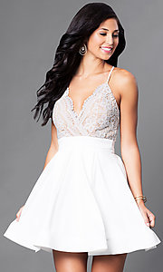 Image of short lace-bodice v-neck homecoming dress. Style: LUX-LD2236 Detail Image 1
