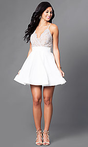 Image of short lace-bodice v-neck homecoming dress. Style: LUX-LD2236 Detail Image 2
