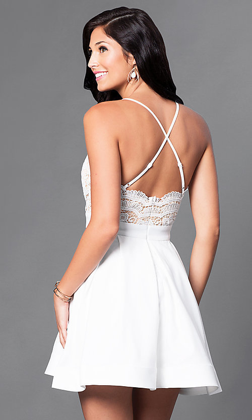 Image of short lace-bodice v-neck homecoming dress. Style: LUX-LD2236 Back Image