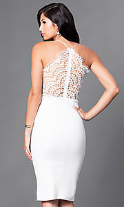 Image of lace v-neck knee-length pencil-skirt party dress. Style: LUX-LD2082 Back Image