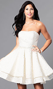 Strapless Short Lace Homecoming Dress