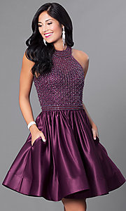 Image of eggplant purple homecoming dress with pockets. Style: CD-1526 Front Image