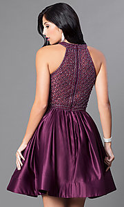 Image of eggplant purple homecoming dress with pockets. Style: CD-1526 Back Image